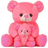 DI Deals India Pink Mother with Baby Teddy Bear- 45 cm, Pink