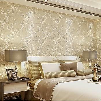 Hanmero carta da parati moderna argento e grigio semplice senza cuciture per camera da letto o for Carta da parati per camera da letto