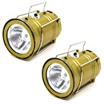 TechSky (Pack of 2) 6In1 Led Solar Emergency Bright Light Lantern + USB Mobile Phone Charging + Torch Point