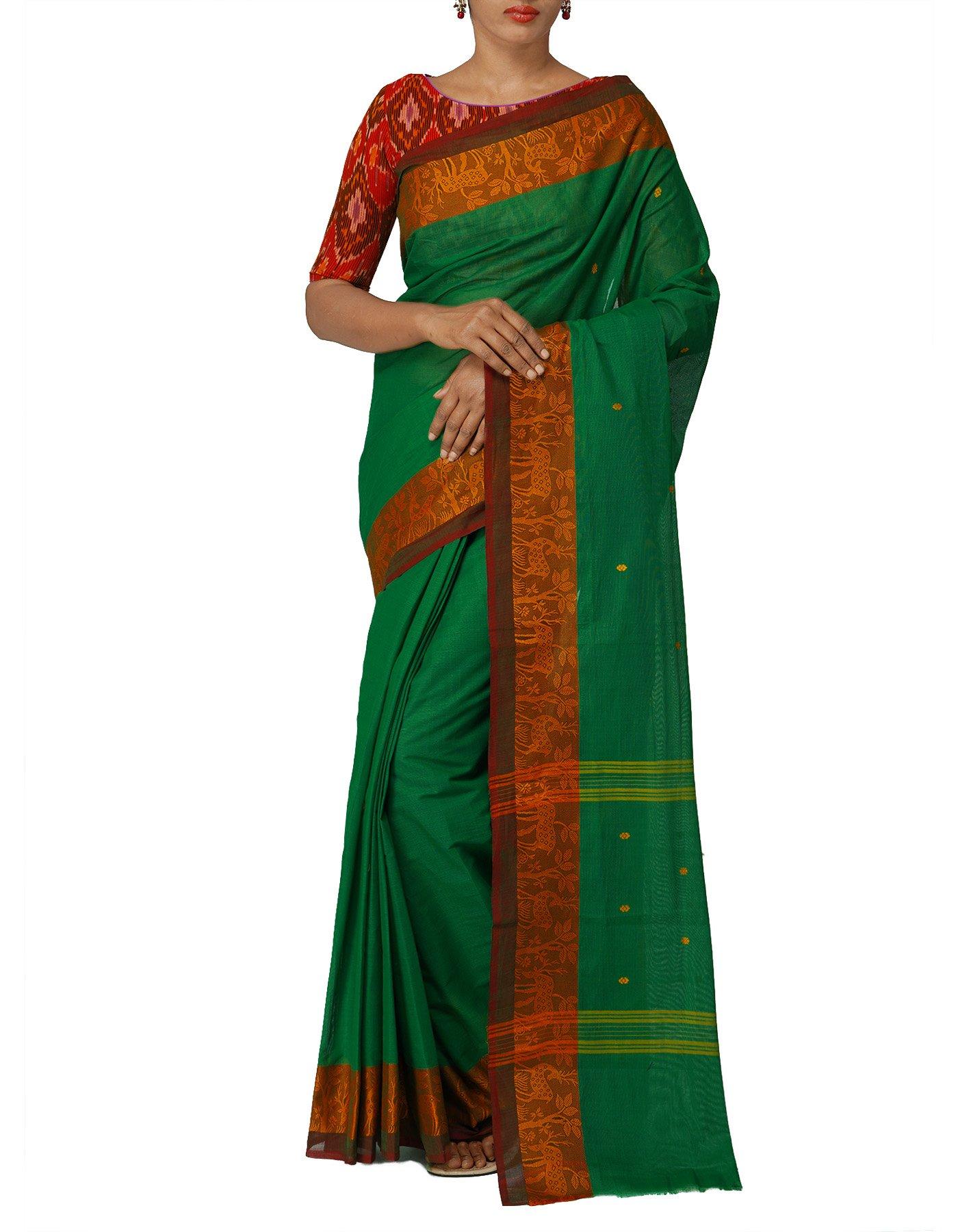 e60669a7d5 Unnati Silks Women Green Pure Handloom Kanchi Cotton Saree with ...
