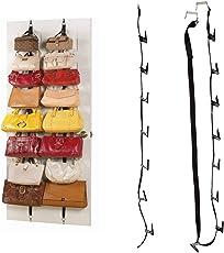 Handbag Organizer - Over The Door Adjustable Straps 16 Hooks For Hanging Purse Clothes Scarves Handbag Door Rack Storage Organizer By KARP - (2 Piece In 1 Pack)