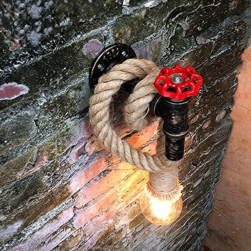 Vinteen Retro Hanfseil Wandleuchte Licht Korridor Gang Schlafzimmer Wandleuchte Wohnzimmer Restaurant Pub Cafe Lampe Kreative Loft Red Valve Wasserrohr Malerei Galerie Treppen Lichter Wandleuchte