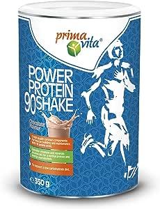 Primavita - Power Protein 90, proteine in polvere per shake con 5 fonti proteiche, gusto cioccolato, 350 g, 11-12 porzioni