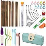 NATUCE Ensemble de 44Pcs Aiguilles à Croche en Bambou, 4 Aiguilles Ergonomiques à Tricoter, Accessoires à Tricoter, Crochets