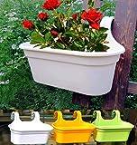 Store अपना-Double Hook Flower Pots, Multicolor Garden Planters Railing Pots Virgin Plastic Hanging Planters -(34 cm) (1)