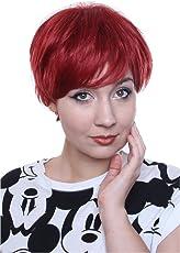 Prettyland C514 - Kurze Perücke Fransiger Stufenschnitt Intensive Farbe Party Wig Cosplay - Rot