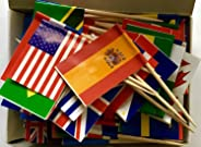 PuTwo Toothpicks Pack of 100 World Flags Cocktail Sticks for International and Ethnic Events, Food Picks for Parties, World C