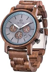 MUJUZE Orologio da uomo in legno – Cassa e cinturino regolabile in legno naturale massiccio giapponese al quarzo orologio da polso da uomo regalo