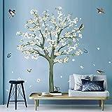 decalmile Pegatinas de Pared Árbol de Flores Blanco Vinilos Decorativos Albaricoque Aves en Rama Adhesivos Pared Dormitorio S