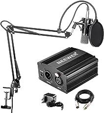 Neewer NW-700 - Microfono Professionale a condensatore kit + 48 V alimentazione Phantom, con caricabatteria e un cavo audio per Microfono a Condensatore XLR, Nero