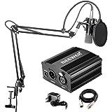 Neewer NW-700 - Microfono Professionale a condensatore kit + 48 V alimentazione Phantom, con caricabatteria e un cavo audio p