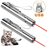 Zacro Cat Toys for Indoor Cats - 2 Pcs USB Rechargeable 4 in 1 Multi Pattern, Interactive Toys Mini for Dogs Cats Kitten Pets, Exercise Cat Training Tool