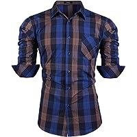 iClosam Camicia da Uomo in Flanella Casual Slim Fit Manica Lunga Men Shirts