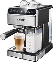 Aicook Touchscreen Kaffeemaschine, 15 Bar Espressomaschine mit Touch-Digital-Bildschirm, Espresso-Siebträgermaschine,...