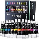 Ohuhu Olieverfset, 12ml x 24 buizen, 24 levendige kleuren op basis van olie, kunstenaars verven olieverf Set Voor Papier, Can