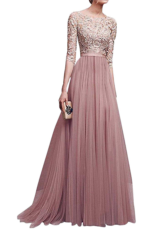sale retailer ba117 bf69f Minetom Donna Vestito Lungo Abito Da Cerimonia Elegante Vestiti Da  Matrimonio Lunghi Formale Banchetto Sera Maxi Dress Pizzo - FACESHOPPING