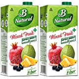 B Natural Mixed Fruit+ Juice, Supports Immunity, , 1L (Pack of 2)