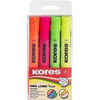 Kores HighLiner Plus, pointe biseautée, marqueur de texte, Assortiment de couleurs fluo (lot de 4)