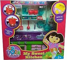 HALO NATION Dora Kitchen Set - Hi Tech Kitchen Toy with Many Accessories - Modern Explorer Kitchen