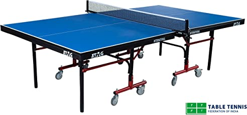 Stag International Table Tennis Table Top Thickness 25 Mm with Net Set, Table Cover, 2 Racquets and 3 Balls Features Quick Assembly and Play Back Mode (Blue)