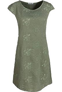 PEKIVESSA Damen Leinenkleid Stickerei Sommerkleid Kurzarm