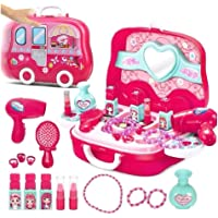 Besterbuy Makeup Kit Pretend Play Accessories for Girls Kids /Pink Color /Make Up Case and Cosmetic Set