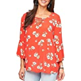 Democracy Women's 3/4 Sleeve Lace Up Top with High Low Hem
