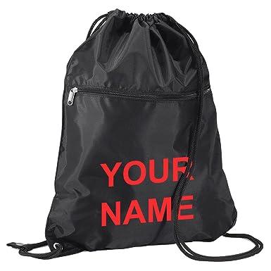 Large Senior School Childrens Kids PE Kit Gym Sack Book Bag With Name Printed On Black Red Print Amazoncouk Luggage