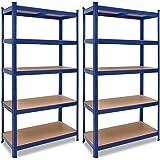 2x Étagères charge lourde métallique 180 x 90 x 40 cm Bleu Charge max. 875 kg 5 Panneaux MDF Étagère de Rangement stockage Ca