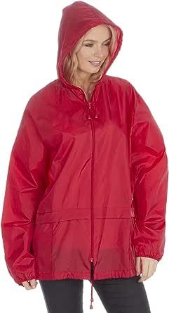 Style It Up Unisex Plain Rain Coat Mac Kagoul Jacket Water Resistant Hooded Cagoul Adults Pac UK