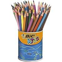 BIC Kids Evolution ECOlutions Crayons de Couleur - Coloris Assortis, Pot à Crayons x60