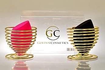 2Stk. Premium Make-Up Schwamm super soft - inklusive kostenloser Aufbewahrungs Halter in Gold (Schwarz-Pink)