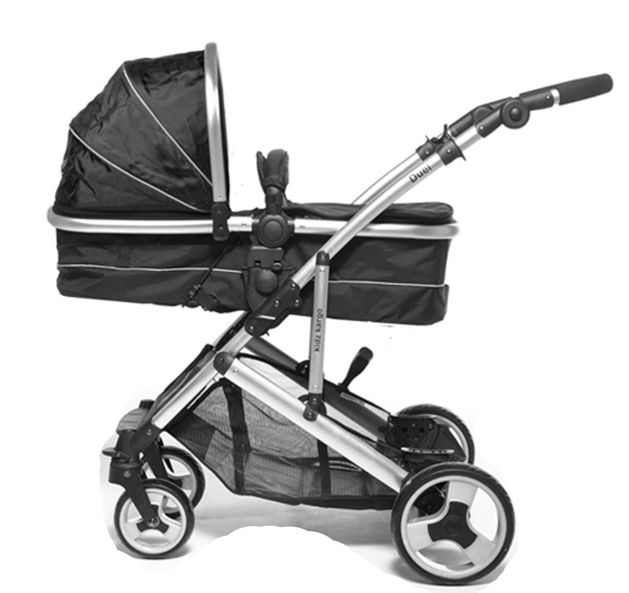 Kids Kargo Duel Combo Tandem Double Pushchair Stroller, Midnight Black Kids Kargo Tandem double pushchair suitable for newborn and toddler Complete with carrycot that converts to a seat unto to grow with your baby. carrycot has soft padded lining which zips off and mattress.. Carrycot & car seats fit in top or bottom position. compatible car seats; kidz kargo 0+, britax babysafe 0+ (no adapters needed) or maxi cosi adaptors 3