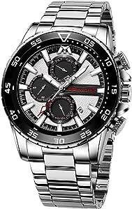 MEGALITH - Orologio da uomo con cronografo, in acciaio inox, impermeabile, grande, da uomo, analogico, con calendario luminoso