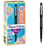 PaperMate Flair Feutres de Coloriage, pointe moyenne (0,7mm), encre noire, boîte de 12