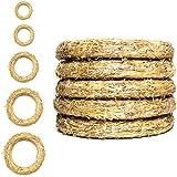 DekoPrinz® Strokransen | 5 stuks | ø 25 cm diameter | 4 cm dikte | stropijp, deurkrans, decoratieve krans, krans blank, stro