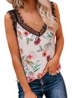 Jhsnjnr Womens V Neck Lace Trim Tank Tops Casual Loose Sleeveless Camisole Shirts