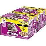 Whiskas Katzen-/Nassfutter Adult 1+ Geflügelauswahl in Sauce, 48 Portionsbeutel (2 x 24 x 100g)