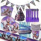 BESLIME Game Party Supplies Vajilla para fiestas Diseño Incluye pancartas, platos, tazas, servilletas, gorro, cuchara, tenedo