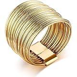 VNOX 15mm da Donna Placcato in Oro Acciaio Inossidabile Impilabile Impugnatura Knuckle Midi Anello per Fidanzamento Nuziale,T