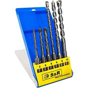 S&R Steinbohrer/Hammerbohrer / SDS Bohrer Set/Bohrerset 6-tlg : 5,6,8 x 110mm; 6, 8, 10 x 160 mm für Beton,Granit, Stein.
