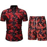 Allthemen Mens Shirts Hawaiian Short Sleeve Floral Prints Shirts Casual Summer Beach Fancy Wear Palm Shirt and Short Set