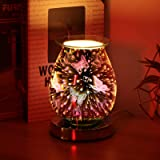 HaavPoois 3D Aromatherapy Lamp, Touch Sensitive Aroma Lamp Glass Electric Oil Burner Wax Melts Night Light Decor for Home Off