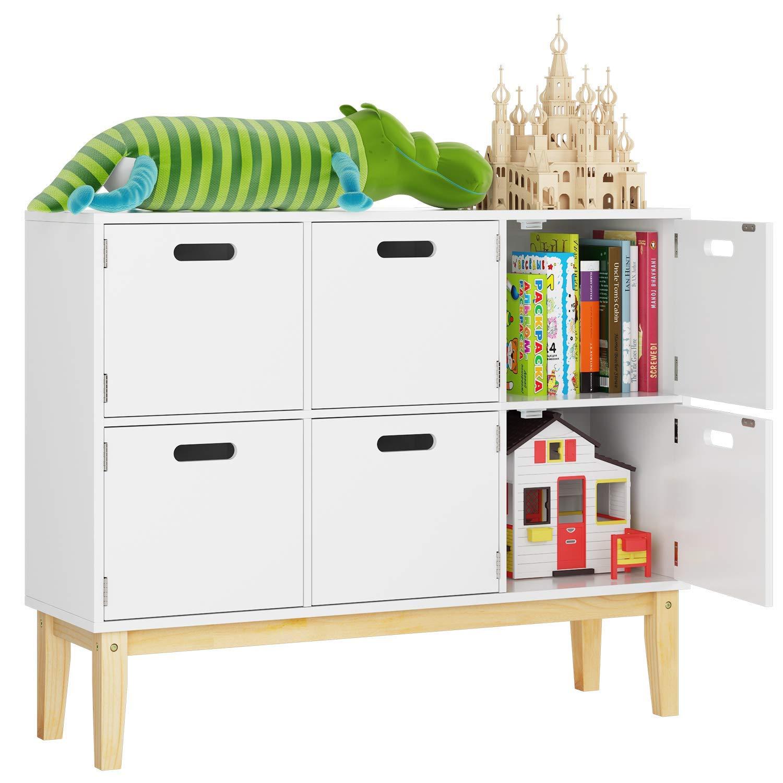 Homecho Kommode Kinderzimmer Bucherregal Schrank Spielzimmer Sideboard In Weiss Mit 6 Fachern Spielzeugschrank Aufbewahrung Fur Schlafzimmer