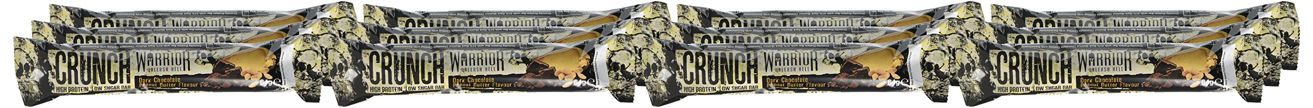 Warrior Crunch Protein Bar - High Protein Snack - Dark Chocolate Peanut Butter - 12x64g Bars 2