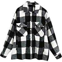 YMING Womens Plaid Shirt Long Sleeve Blouse Button Down Tops Casual Check Blouse