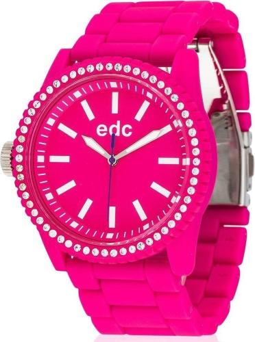 edc by ESPRIT Damen-Armbanduhr Stone Starlet - Hot Pink Analog Quarz Plastik
