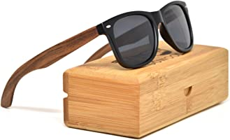 Walnut Wooden Mens and Womens Sunglasses with Polarised Lenses