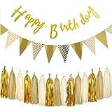 Gold Geburtstag Dekoration Set,Happy Birthday Banner, Paper Pennant Banner Triangle Flags With Tissue Paper Tassels Garland Paper Garland Birthday Decoration kindergeburtstag deko