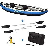 Kangui Canoë Kayak Gonflable Bleu 1 à 2 Places + pagaie + Sac Transport + Pompe Double Action+ kit de réparation